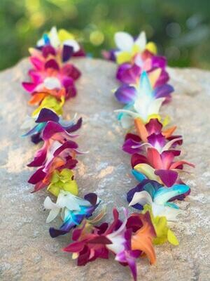 DYED RAINBOW ORCHID LEI (SINGLE)