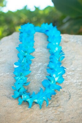 DYED BLUE ON WHITE ORCHID LEI (SINGLE)