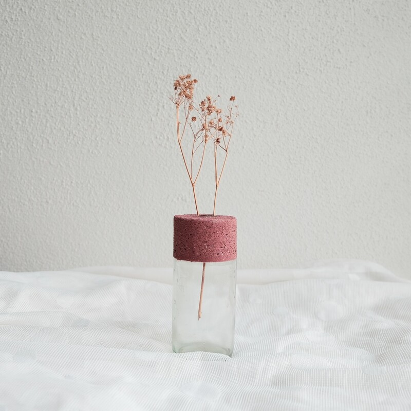 Pinktober limited edition concrete glass vase (Medium)