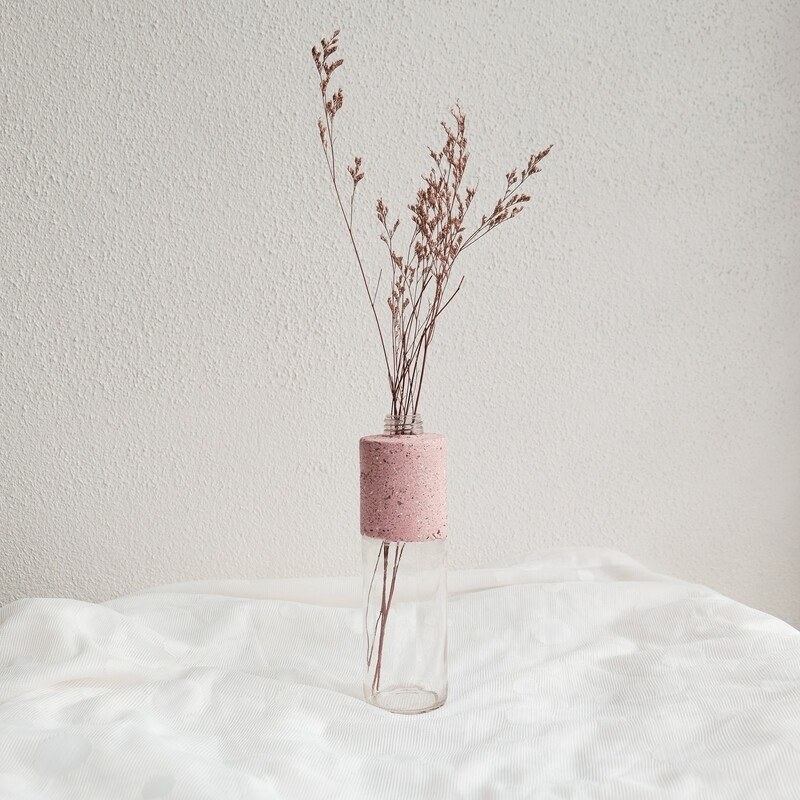 Pinktober limited edition concrete glass vase (Large)