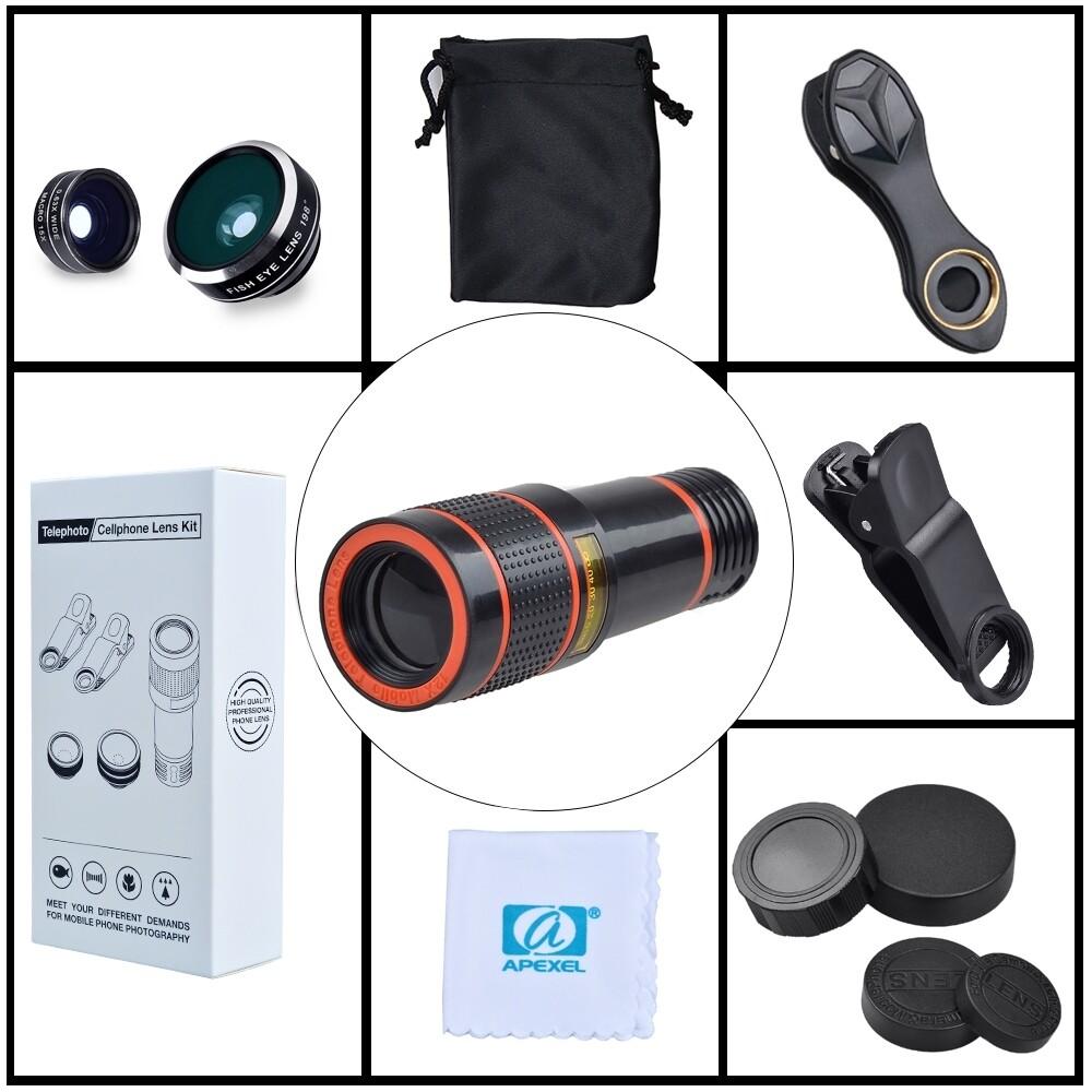 Apexel 12x Zoom + 15x Macro + 0.63x Wide-angle + 198 degree Fisheye Phone lens + Phone holder