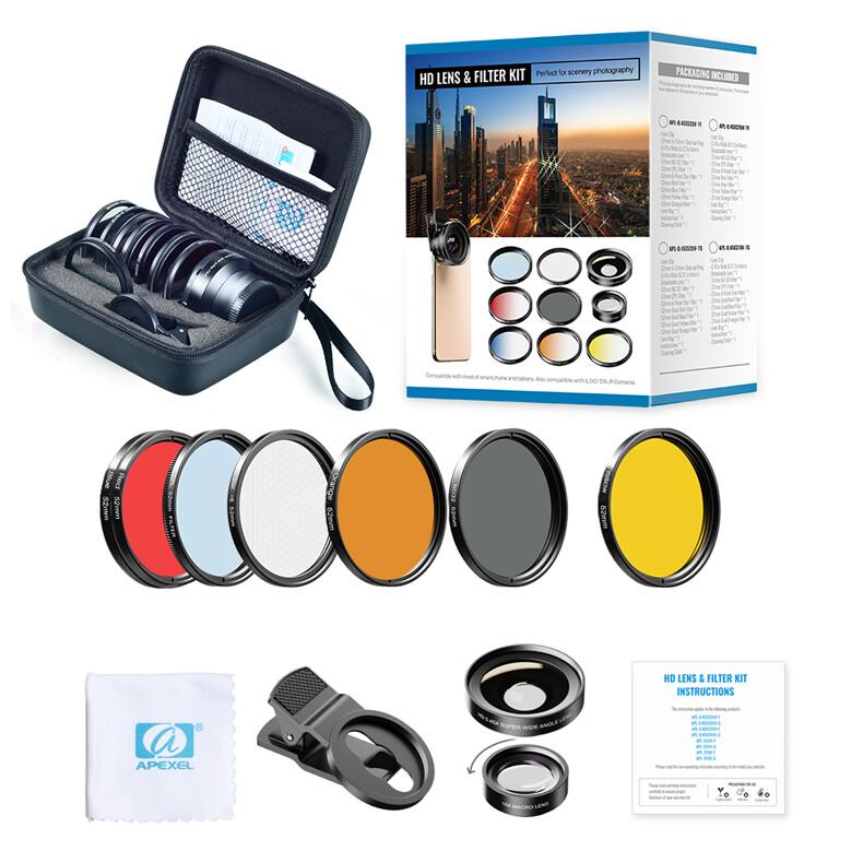[Prebook] Apexel 7 in 1 0.45x wide+15x macro + 52mm [Blue + Yellow + Orange + Red + CPL + ND32 + Star Filters]