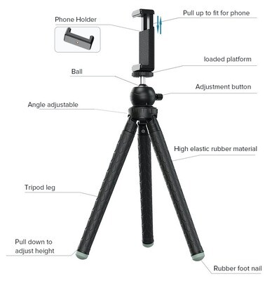 APEXEL Professional Extendable Tripod with 360 Rotation Vertical Shooting Phone Tripod Holder