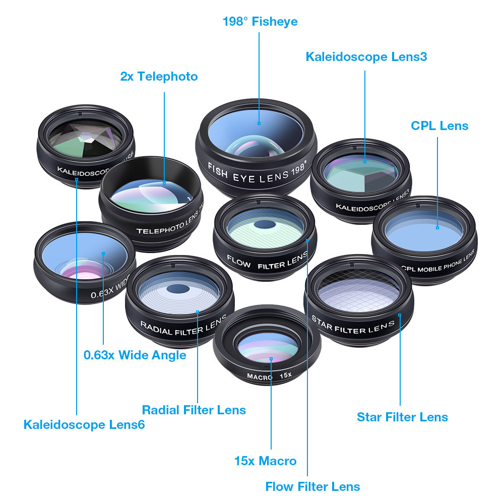 Apexel 10 in 1 Phone Lens Combo with Filters