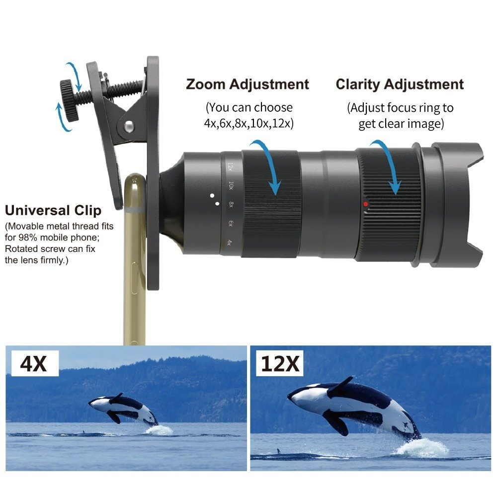 [Prebook] Apexel Variable Magnification (4x-12x) Zoom Phone Lens [NEW 2018]
