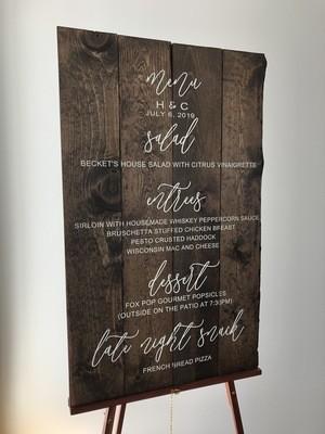 Wedding Menu Sign (36in x 24in)