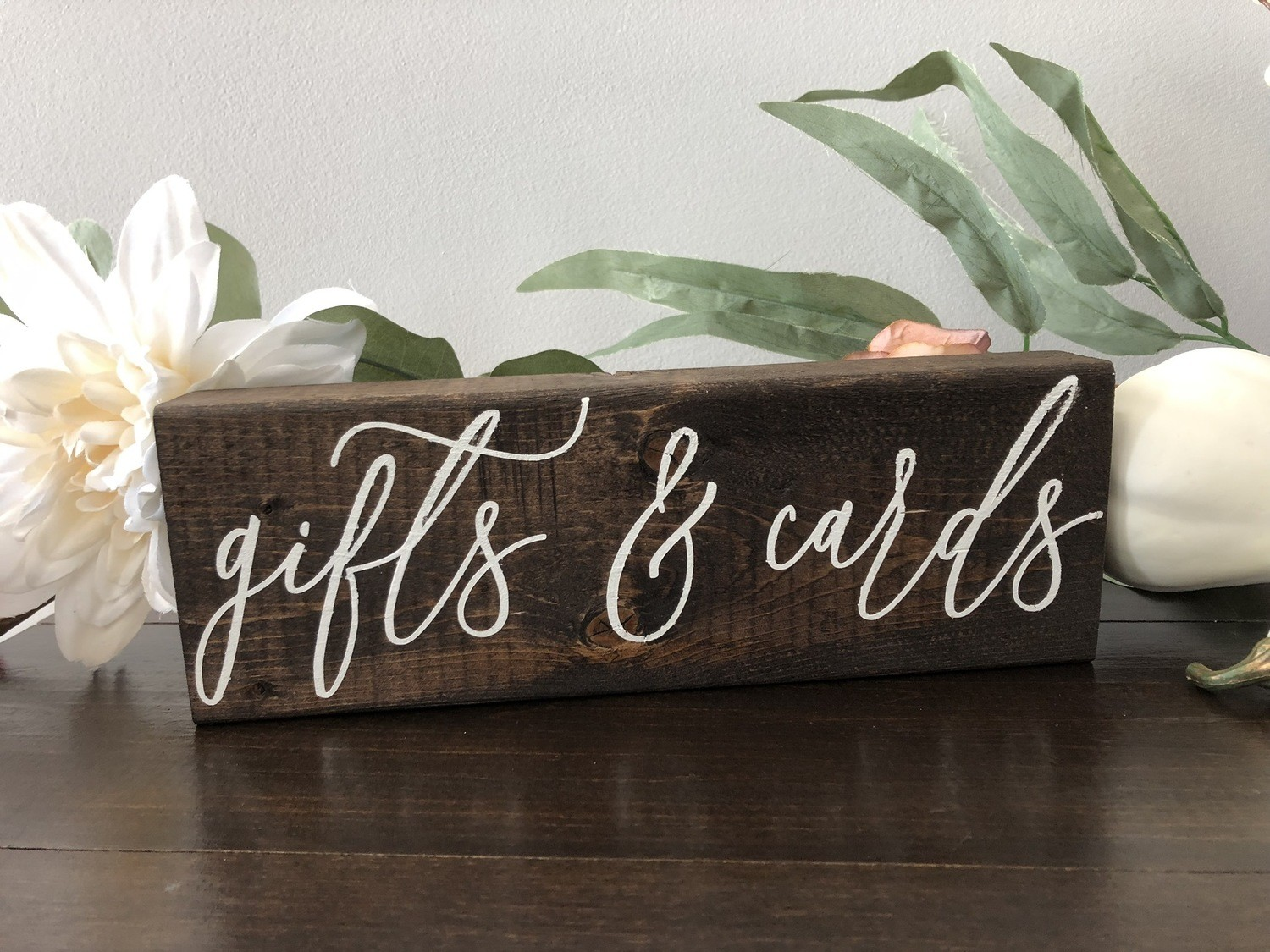 Gifts & Cards Sign (2in x 4in x 10in)