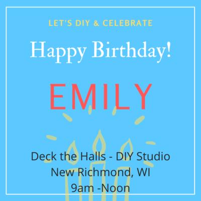 Emily's Birthday Workshop - September 26, 9am NR Studio
