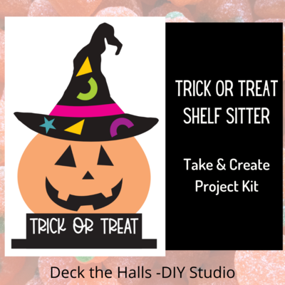 Trick or Treat Pumpkin Shelf Sitter
