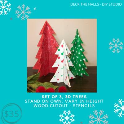 Set of 3, 3D Trees
