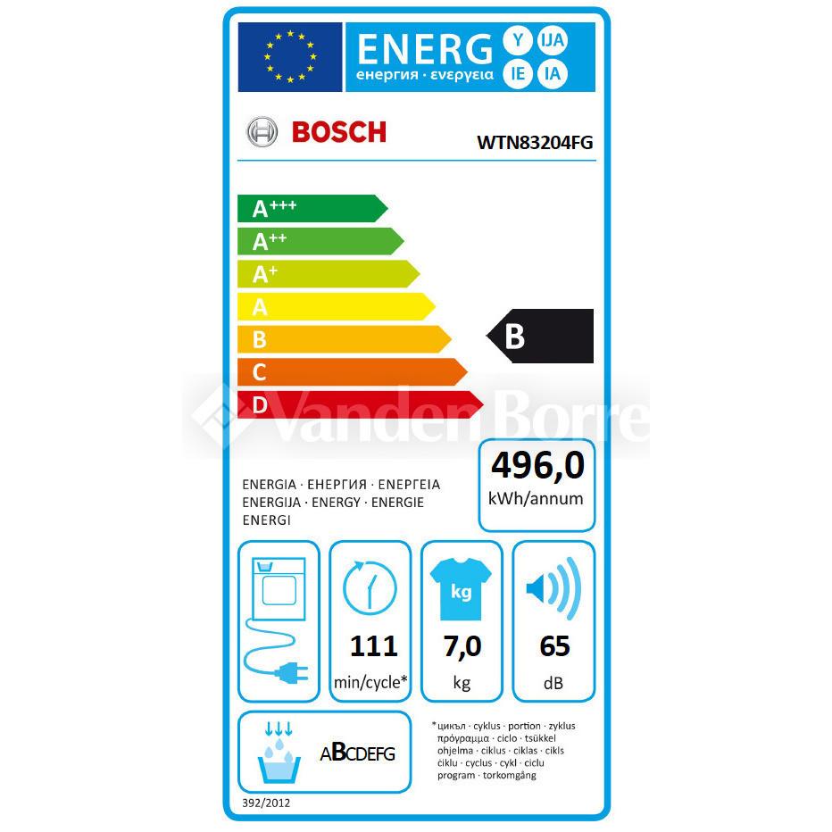 Bosch WTN8328CFG 7KG ELECTR  Droogkast 7 kg - Condensatie
