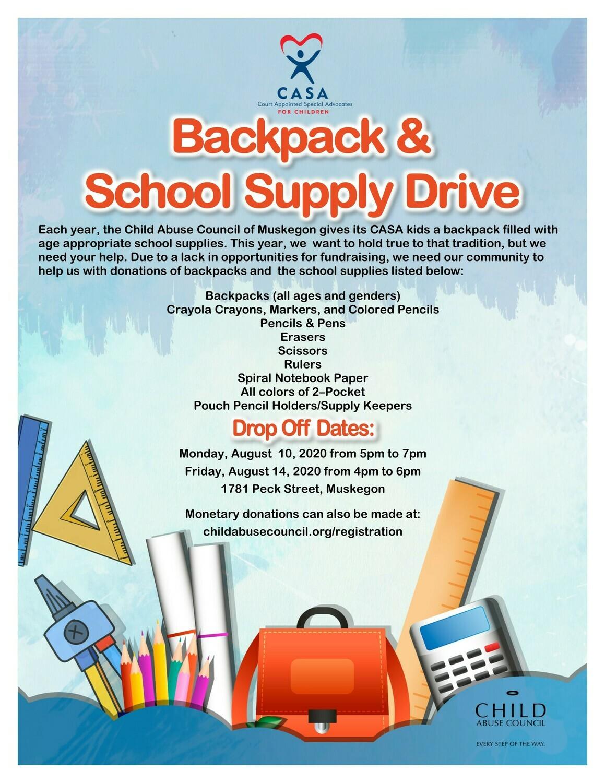 CASA Backpack & School Supply Drive