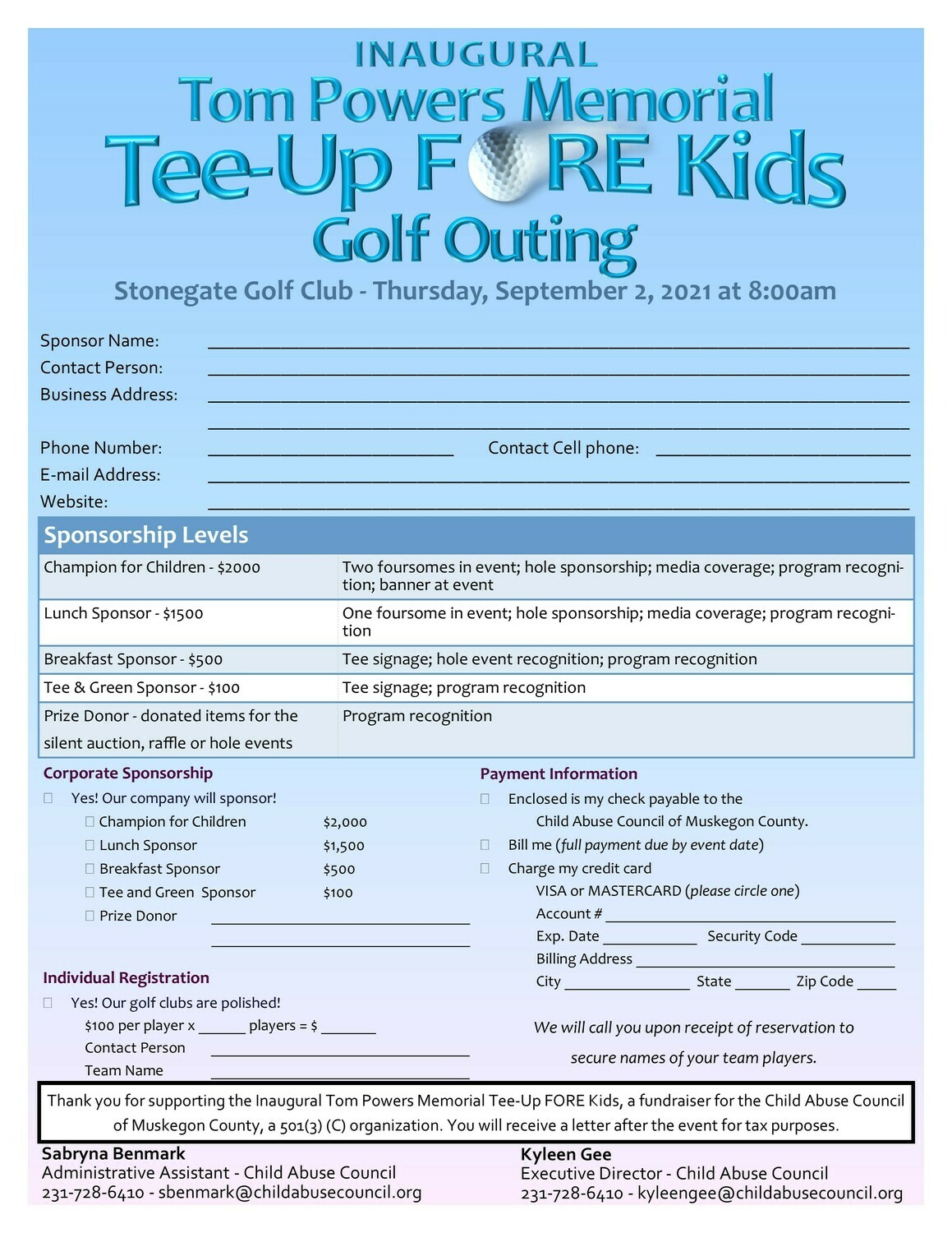 Tom Powers Memorial Tee Up FORE Kids Golf Outing Sponsorship