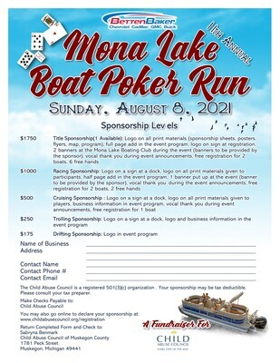 Mona Lake Boat Poker Run Sponsorship & Monetary Donation for the Silent Auction