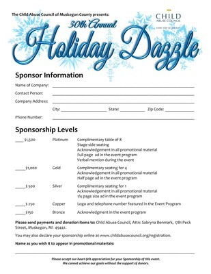 Holiday Dazzle 2021 Sponsorship Declaration