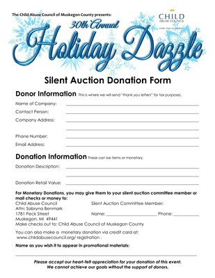 Holiday Dazzle Silent Auction Donation - Monetary Donations