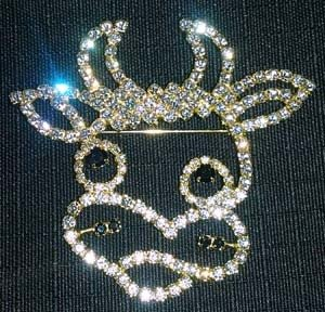 Rhinestone Cow Head Pin - Large