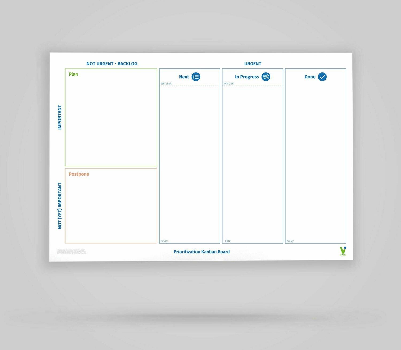 Vi-Board: Prioritization Kanban Board 3 Spalten - Whiteboard Poster - DIN A0