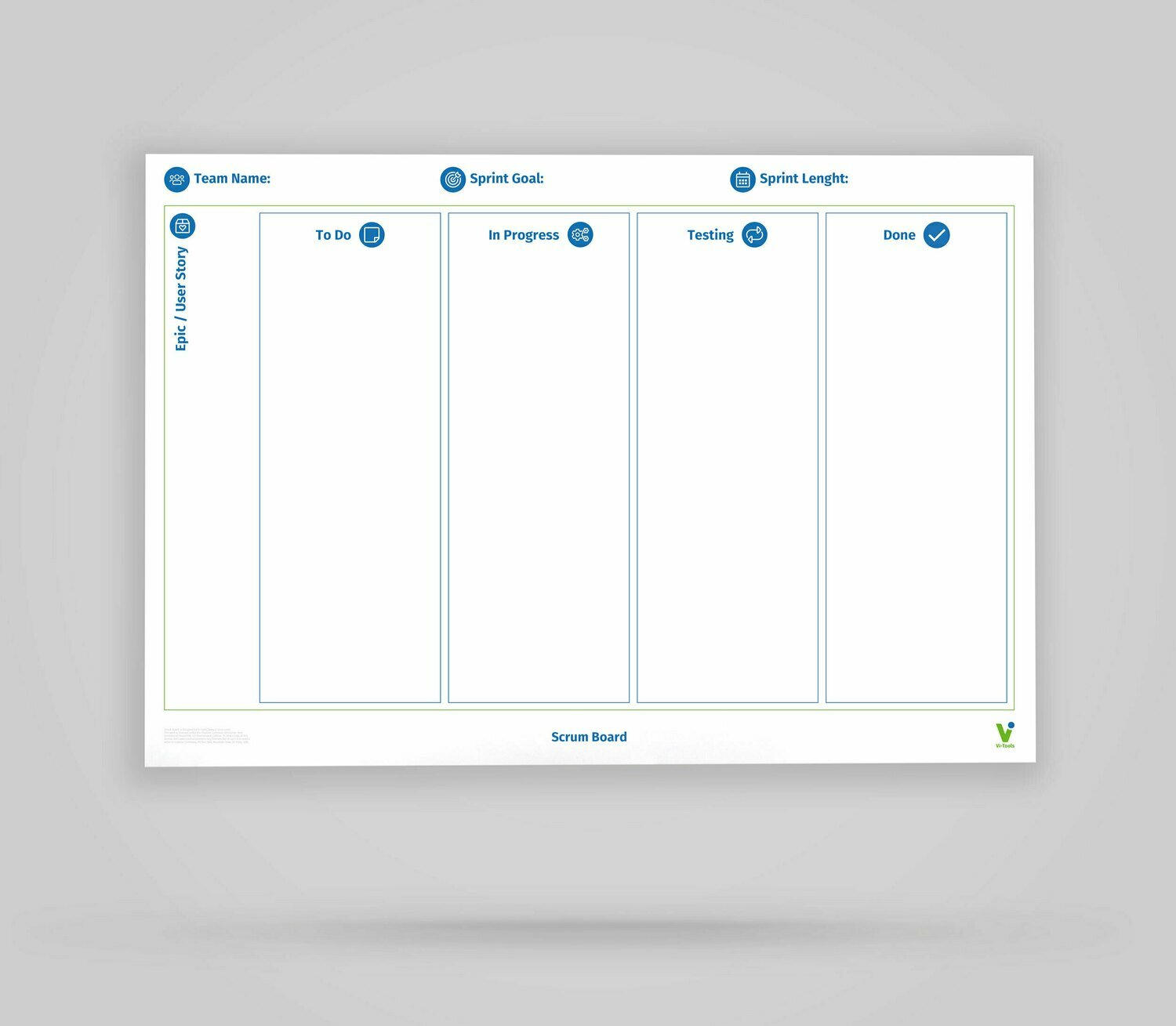 Vi-Board: Scrum Epic/User Story Board - Whiteboard Poster - DIN A0