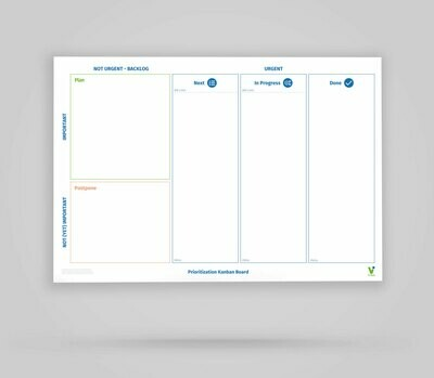 Vi-Board: Prioritization Kanban Board 3 Spalten - Whiteboard Poster - DIN A0