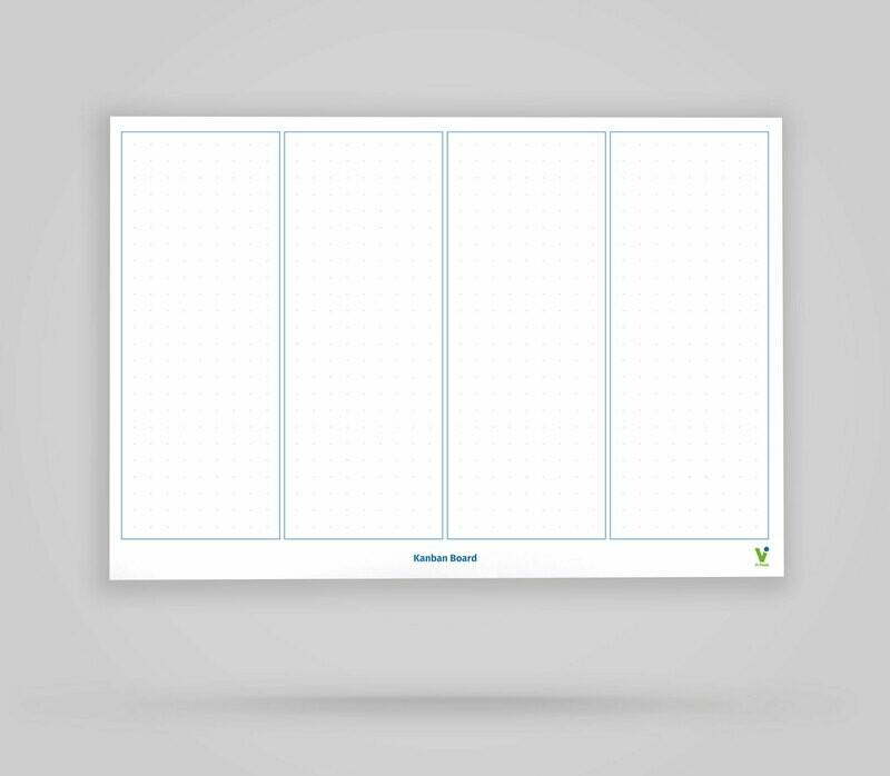 Vi-Board: Kanban Board 4 Spalten unbeschriftet - Whiteboard Poster - DIN A0