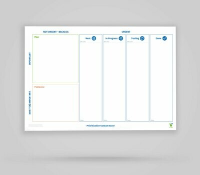 Vi-Board: Prioritization Kanban Board 4 Spalten - Whiteboard Poster - DIN A0