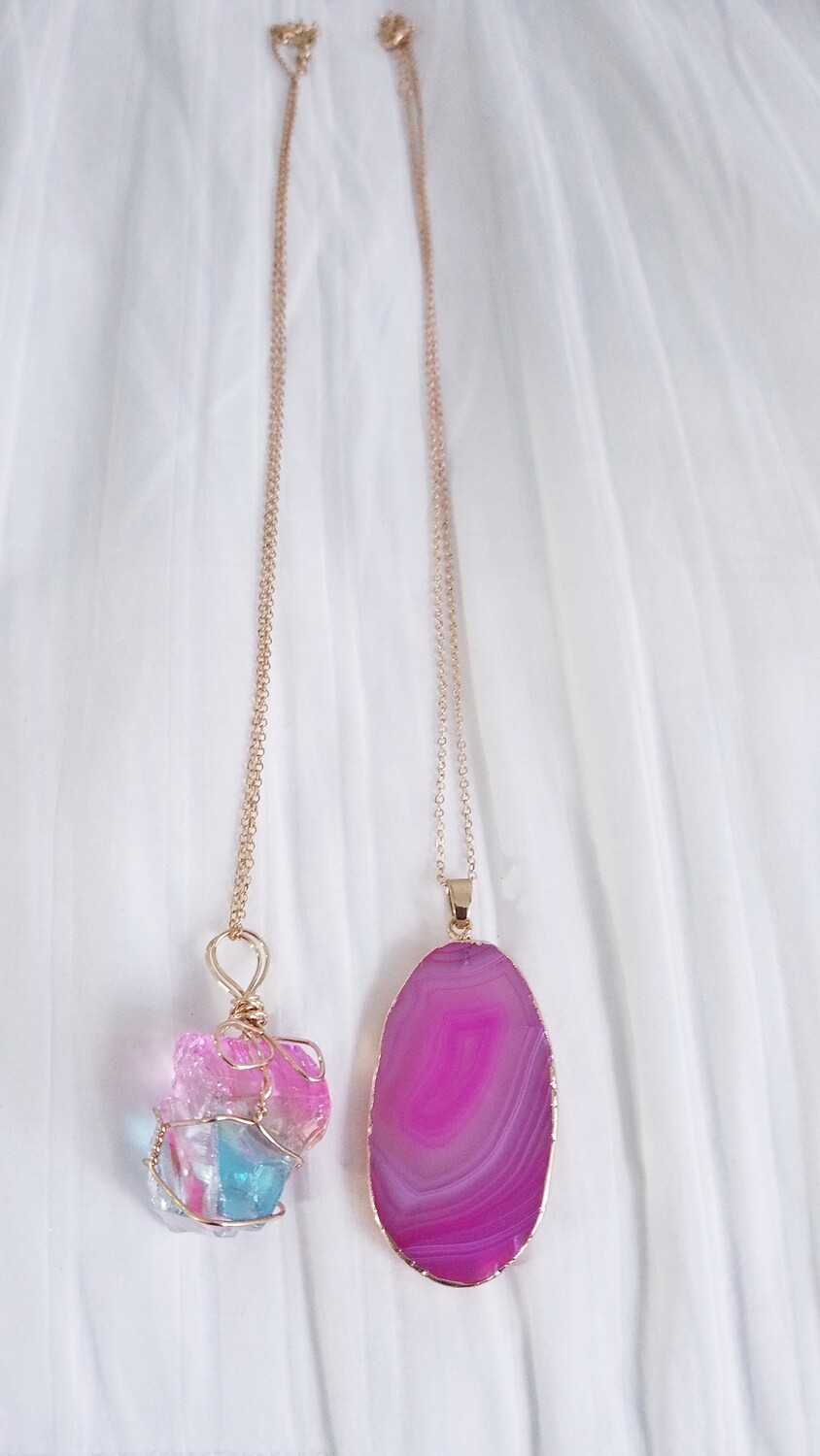 Charka Heart / Zentron Crystal Agate- Healing Necklaces