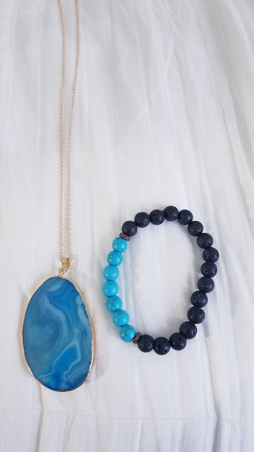 Blue Agate Necklace & Bracelet