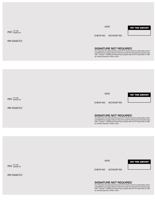 Debtor Check Shells for CDS & CSS