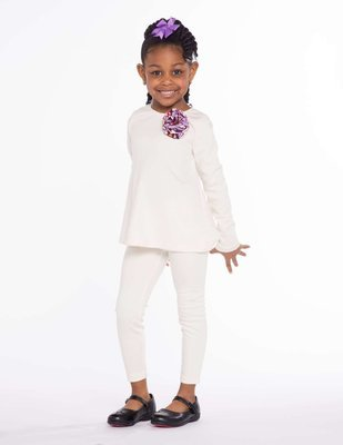 Girls Crew Neck Long Sleeve Shirt And Cream Legging