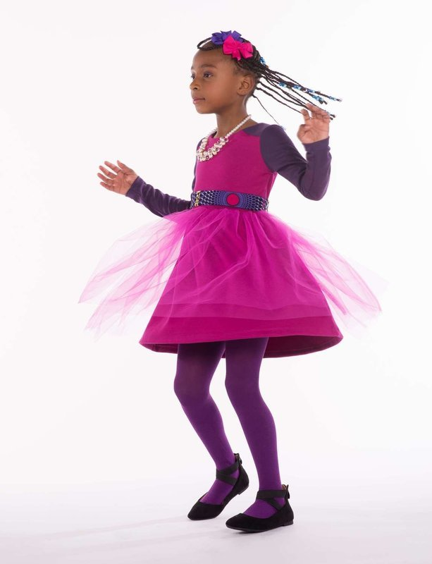 Girls Dress With Tulle Skirt And Keyhole Back