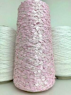 Lustrosa  , крупные 6 mm и мелкие 3 mm пайетки на хлопке, длина нити: около 200м/100гр,цвет: фламинго