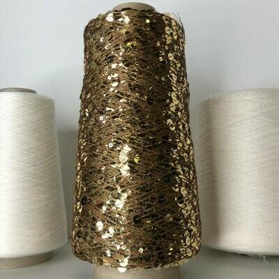 Lustrosa крупные 6 mm и мелкие 3 mm пайетки на хлопке, длина нити: около 200м/100гр, цвет: золото