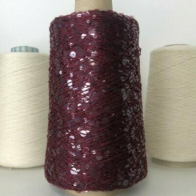 Lustrosa  крупные 6 mm и мелкие 3 mm пайетки на хлопке около 200м/100гр, цвет: роскошное бордо