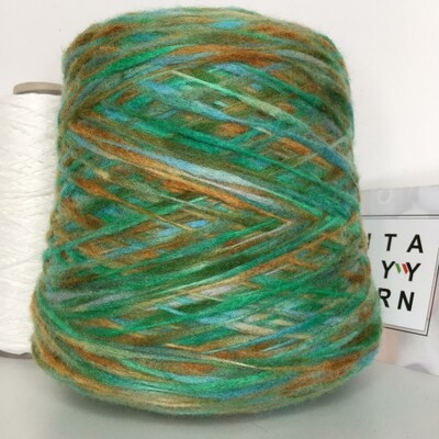 MURALES Rigo 80% меринос 20% п/а  220м/100гр . col.4158 голубой-зеленый-хаки с переходом в серо-коричневый