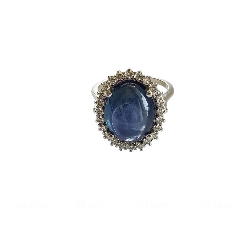 Natural Star Sapphire 10.67ct Diamond Ring, GIA certificate,14k White Gold