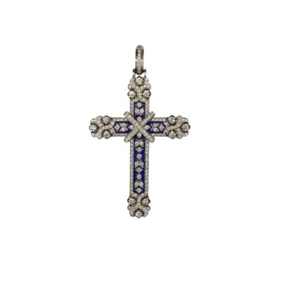 14K White and Rose Gold Handmade Diamond Cross,Blue Hot Enamel