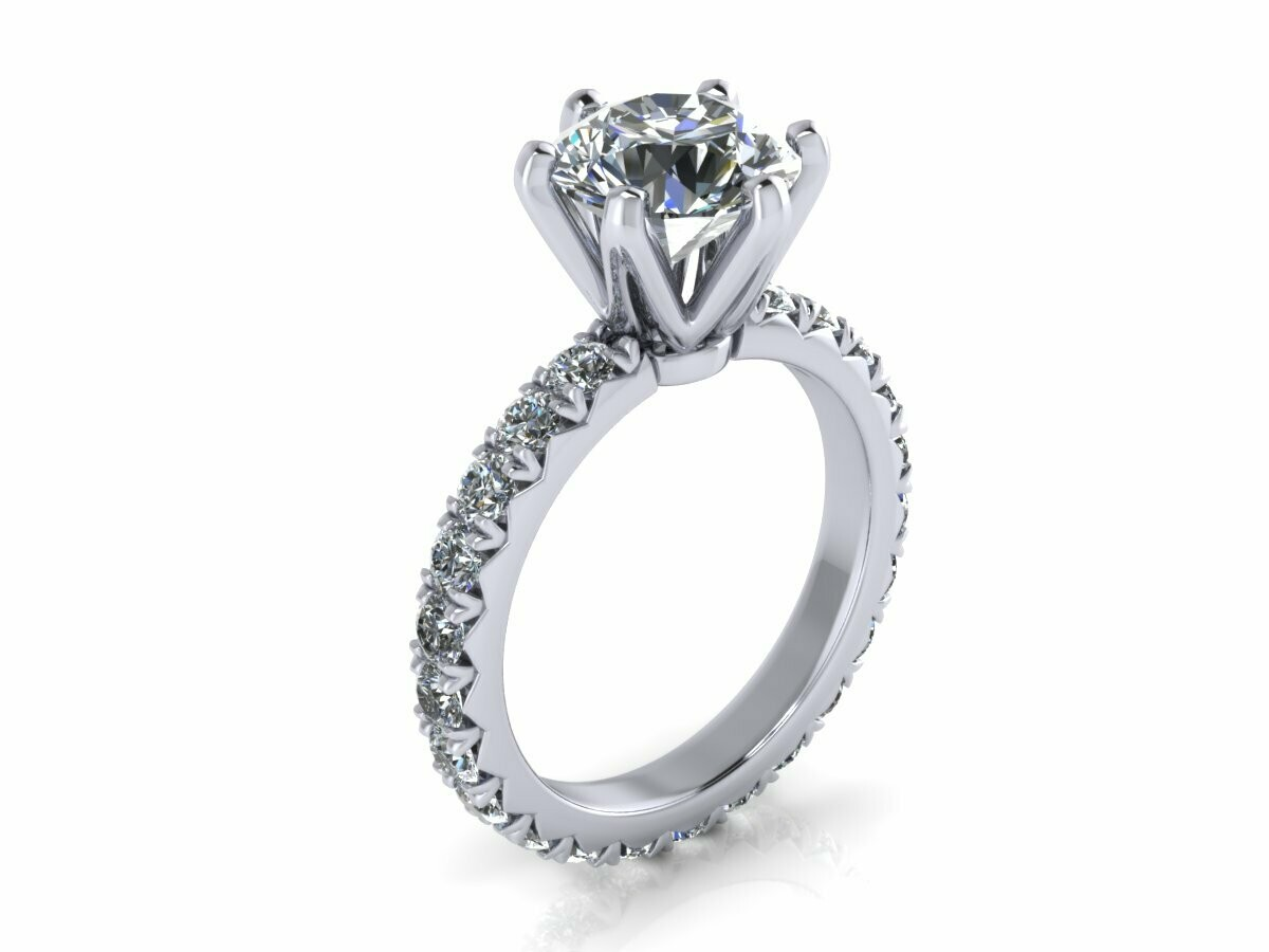 18K White Gold 2.5 CT  Solitaire Engagement  Ring