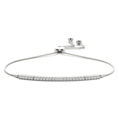 14K Diamond Adjustable Bracelet,Diamond Bolo Bracelet
