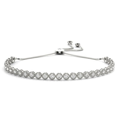 18K Diamond Milgrain Adjustable Bracelet,Diamond Bolo Bracelet