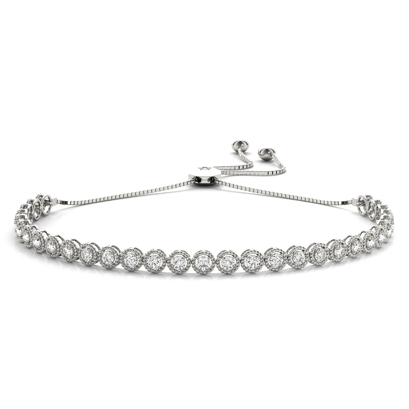 14K Diamond Milgrain Adjustable Bracelet,Diamond Bolo Bracelet