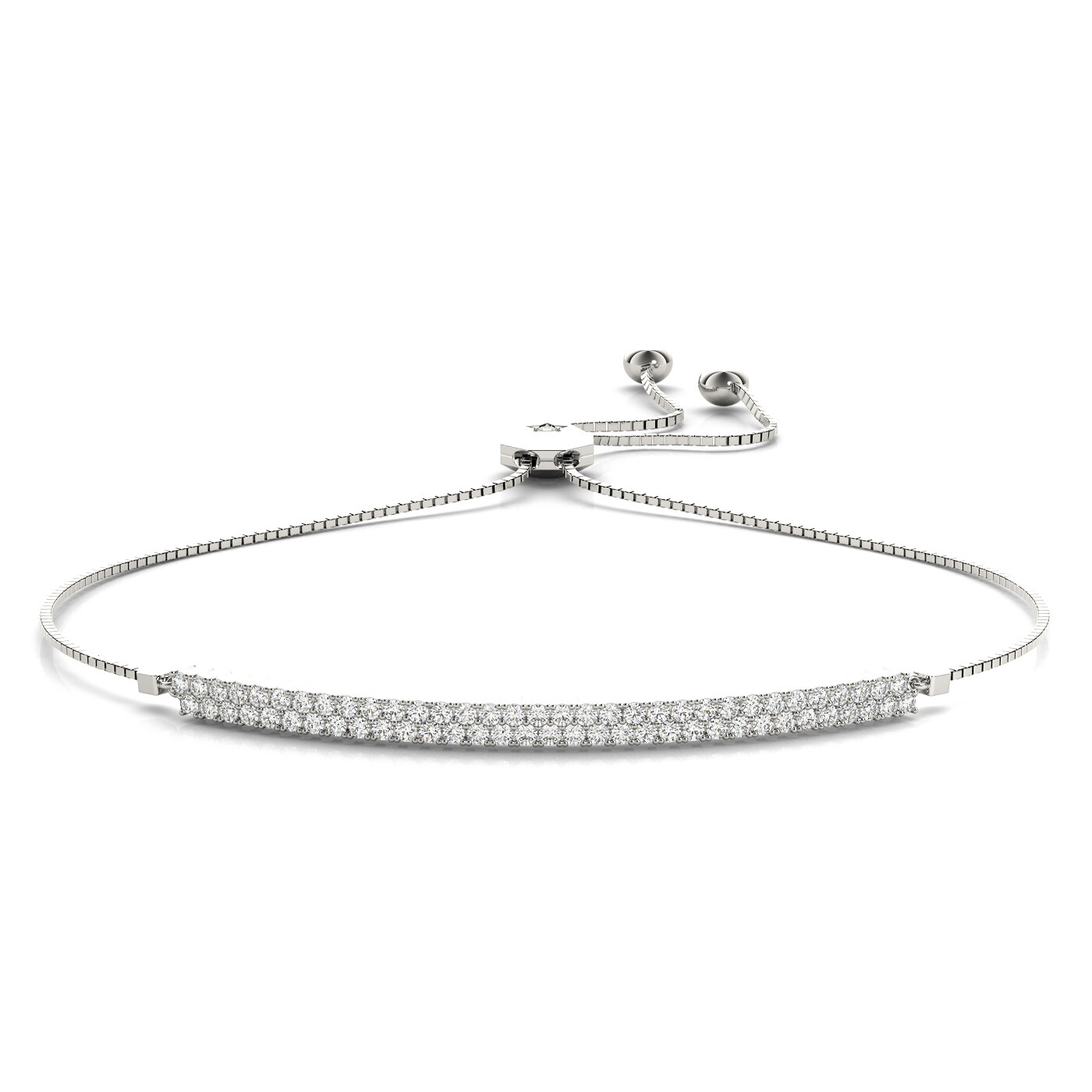 14K  Two Row Diamond Adjustable Bracelet,Diamond Bolo Bracelet