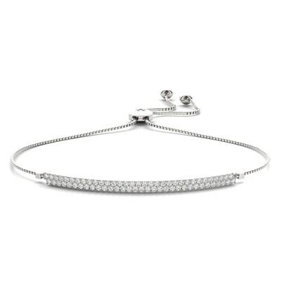 14K  Two Row Diamond Adjustable Bracelet,Diamond Bolo Bracelet