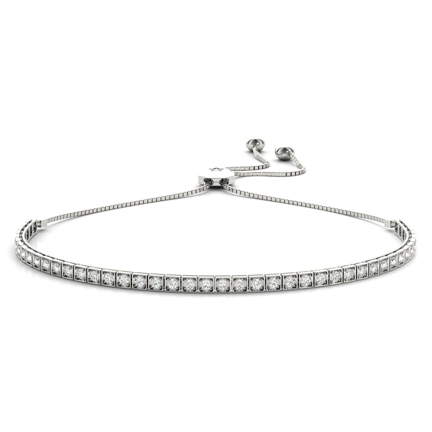 14K Diamond Tennis Adjustable Bracelet,Diamond Bolo Bracelet