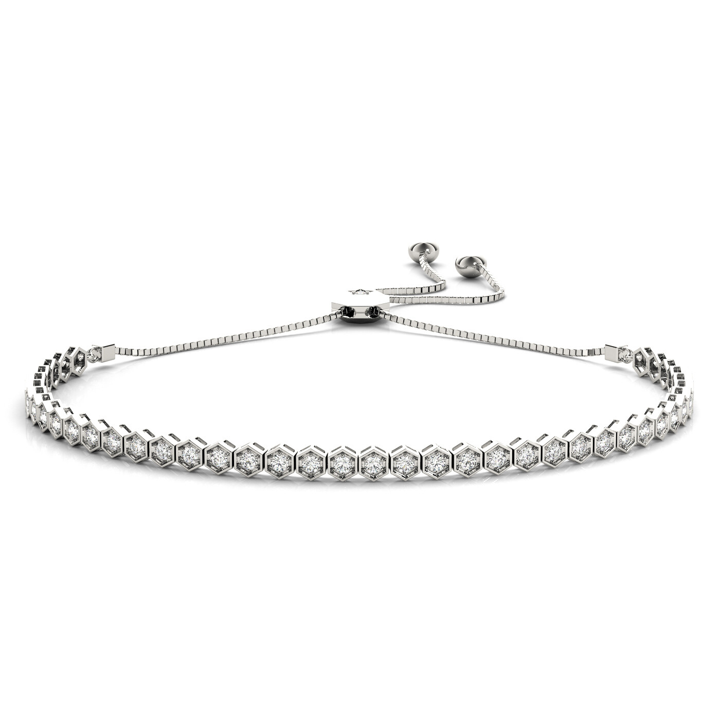 14K Diamond Tennis Adjustable Bracelet,Diamond Bolo Bracelet