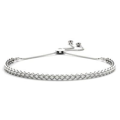 18K Diamond Tennis Adjustable Bracelet,Diamond Bolo Bracelet