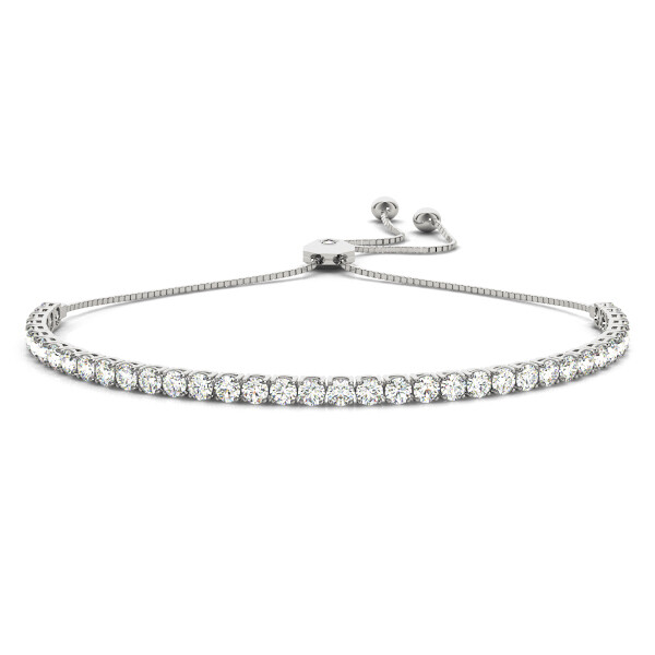 14K Diamond In Line Tennis Adjustable Bracelet,Diamond Bolo Bracelet