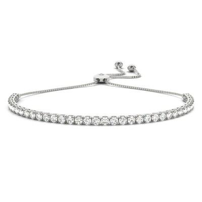18K Diamond In Line Tennis Adjustable Bracelet,Diamond Bolo Bracelet