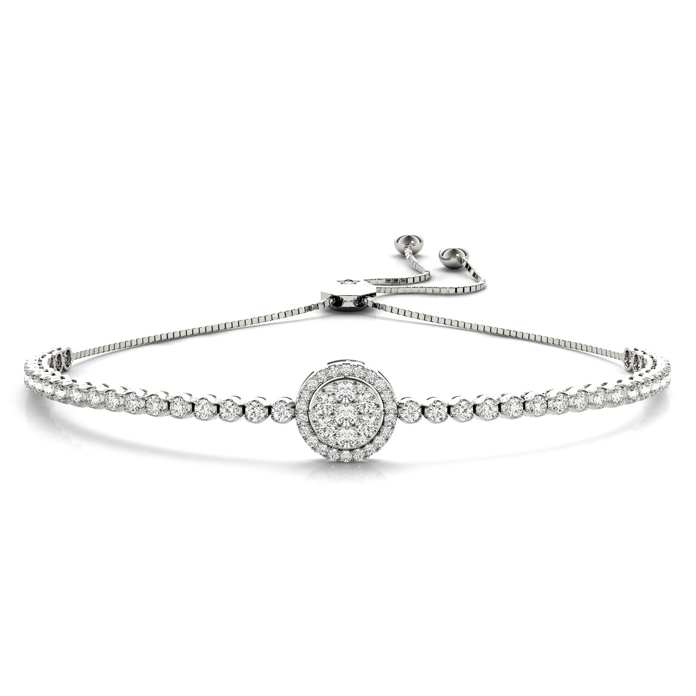 14K Diamond Cluster Tennis Adjustable Bracelet,Diamond Bolo Bracelet