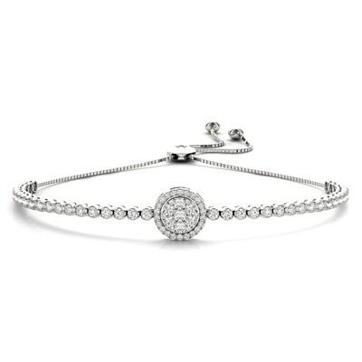 14K Diamond Cluster Tennis Adjustable Bracelet,Diamond Bolo Bracelet